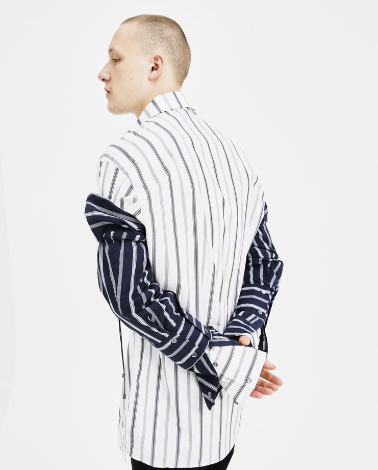 DELADA Navy Striped Detachable Sleeves DM4ACC4 cotton double layered removable shirt sleeve buttoned drawstring fastening autumn winter AW18 showstudio machine a