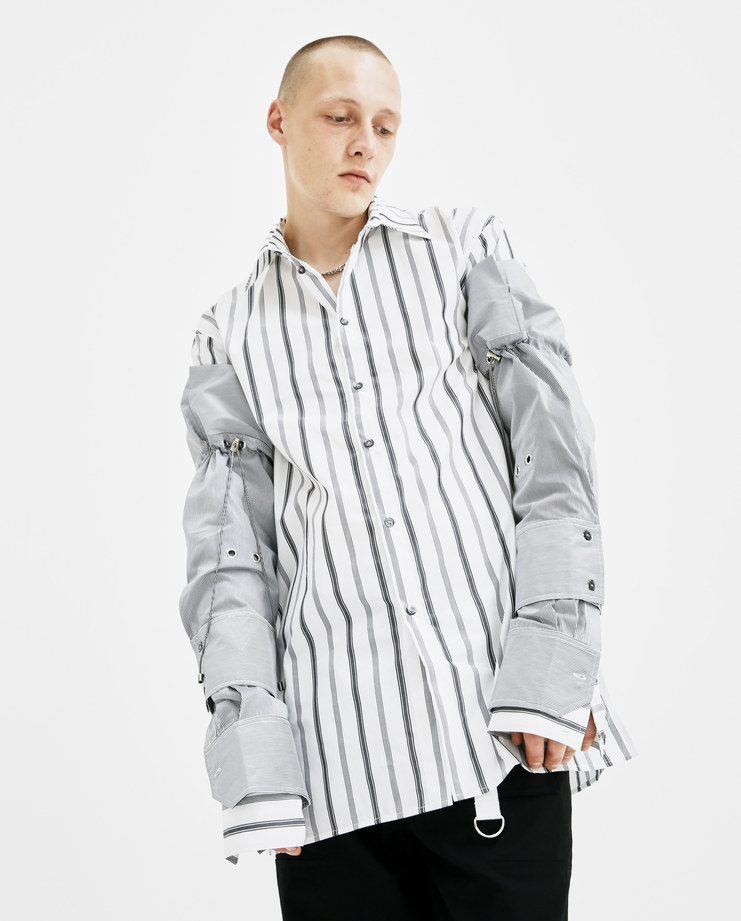 DELADA White Striped Detachable Sleeves DM4ACC4 cotton double layered removable shirt sleeve buttoned drawstring fastening autumn winter AW18 showstudio machine a