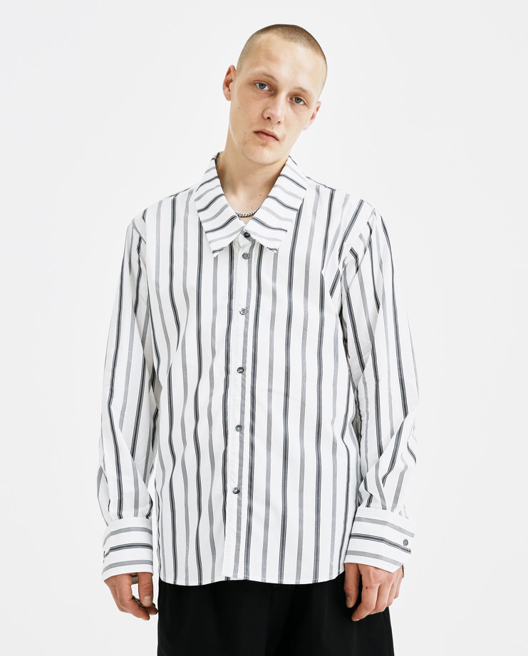 DELADA Low Collar Shirt DM4SH6 long sleeve cotton white grey striped buttoned autumn winter AW18 machine a showstudio
