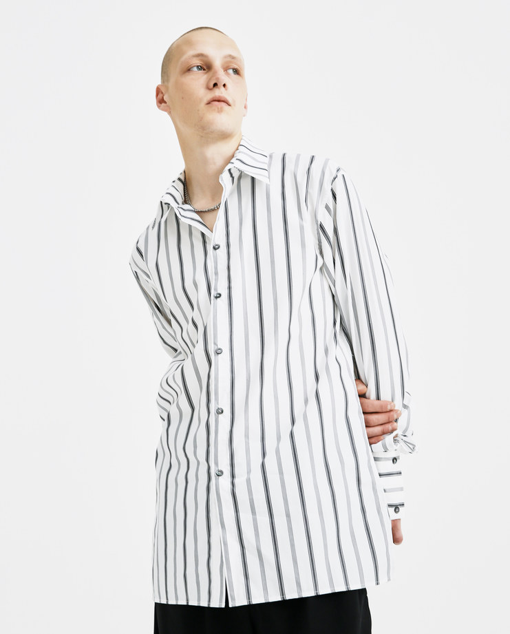 Delada Classic Collared Shirt with Loops DM4SH1 strap button long sleeve cotton white grey striped AW18 autumn winter machine a showstudio