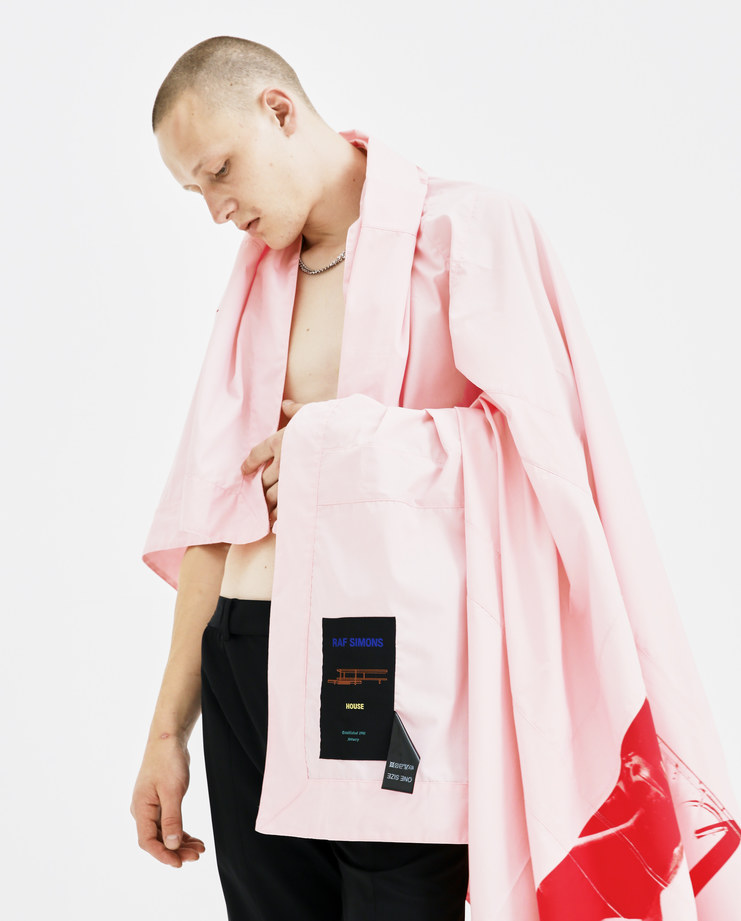 Raf Simons Light Pink Monk Blanket 181-420-15010-00034 mens accessories lifestyle blankets handcrafted cotton red prints graphics SS18 spring summer showstudio machine a