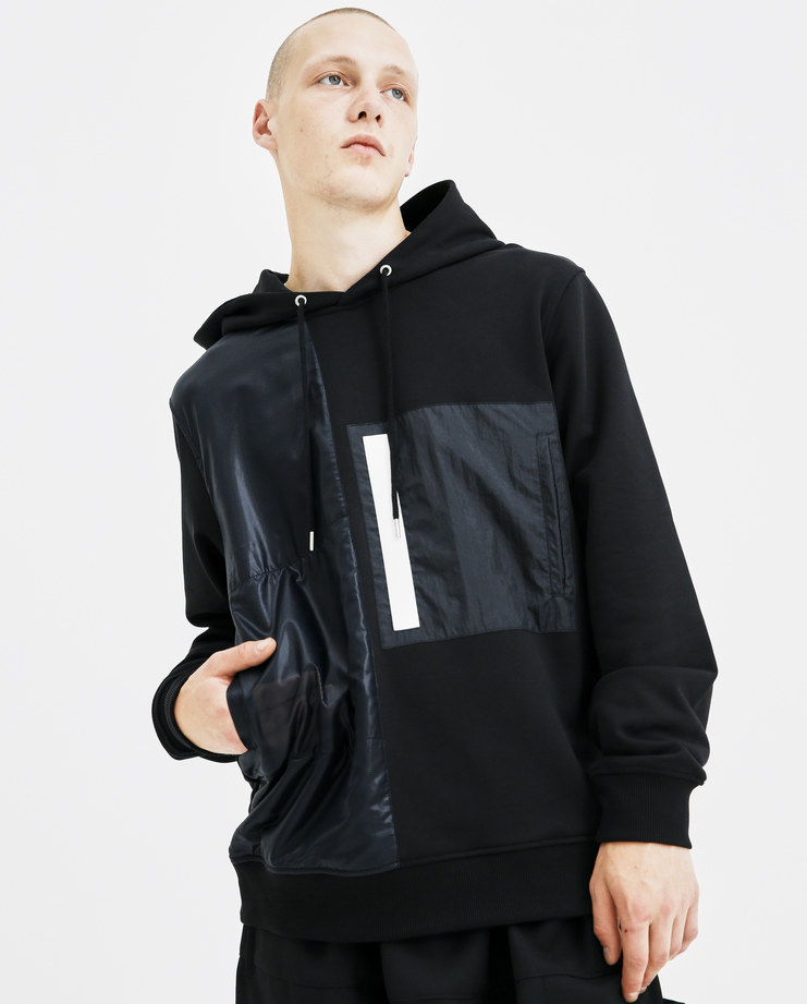 Helmut Lang Black Combo Hoodie I05HM504 mens hoodies hooded jumpers pockets AW18 autumn winter showstudio machine a