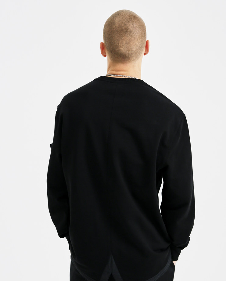 Helmut Lang Black Fishtail Crewneck I05HM506 mens sweater sweatshirt fishtail hem tops zip pocket sleeve AW18 autumn winter showstudio machine a