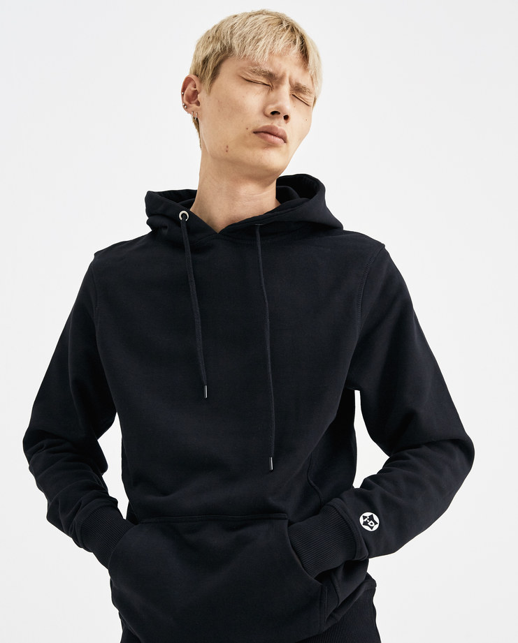 I-D Logo Hoodie black hooded sweater white printed back logo kangaroo pockets mens womens unisex AW18 autumn winter showstudio machine a