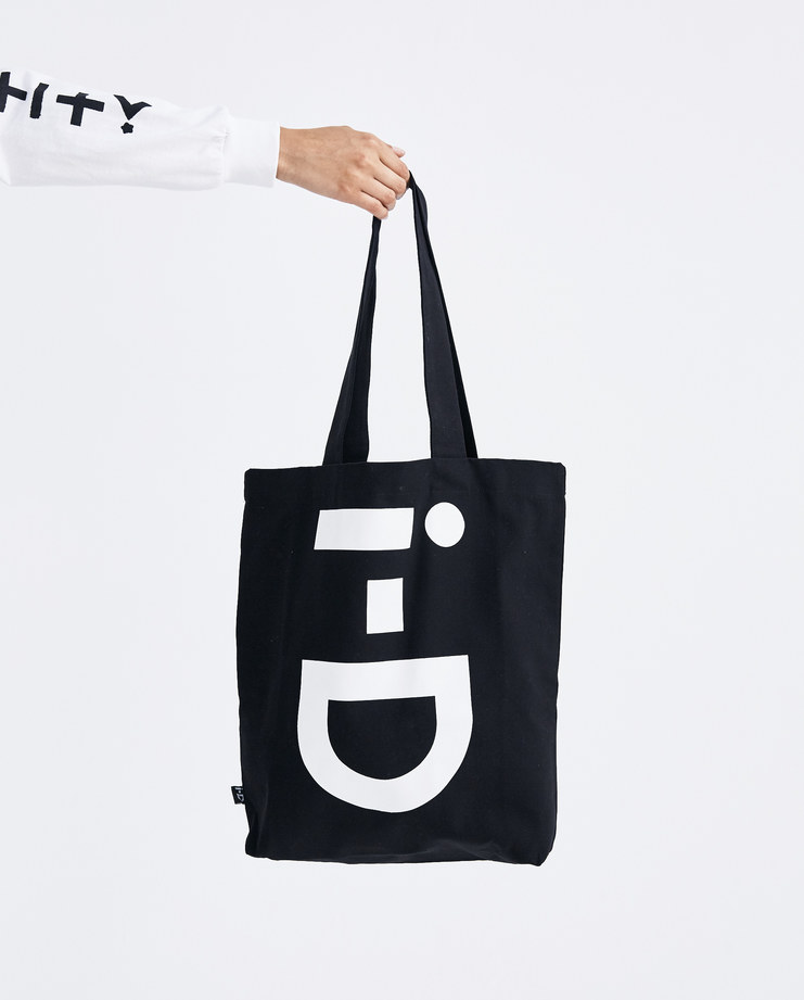 I-D Logo Tote bag black tote bag white logo print mens womens unisex AW18 autumn winter showstudio machine a