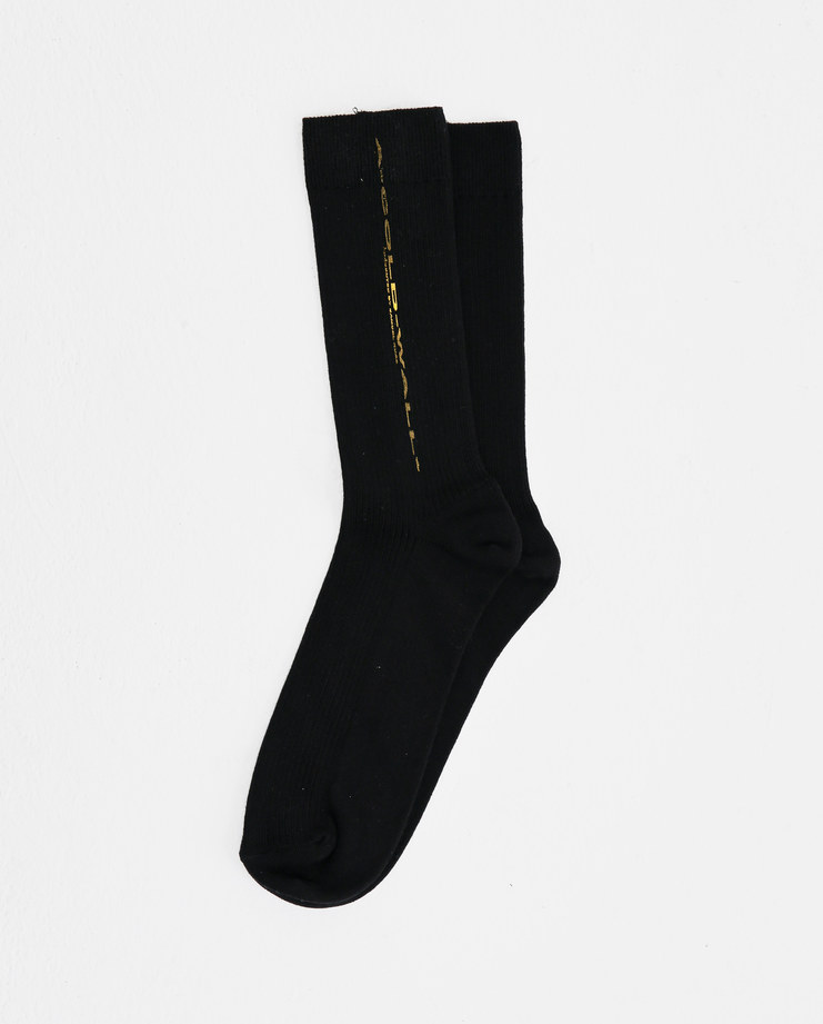 A-COLD-WALL* Black Stretched Logo Sock SO5 ACW logo print mens socks accessories SS18 spring summer showstudio machine a yellow