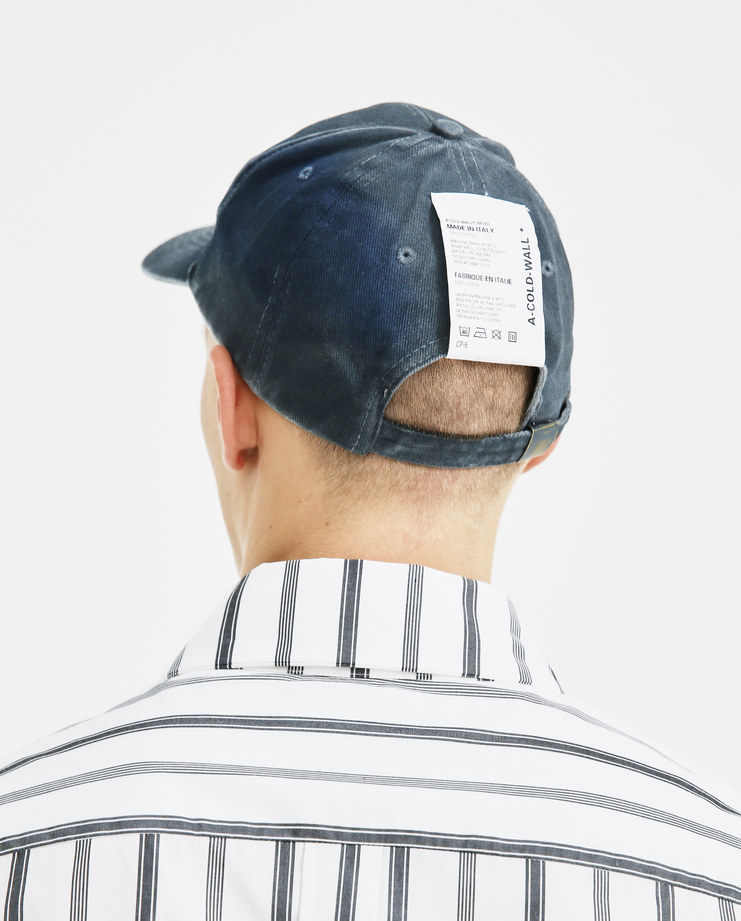 A-COLD-WALL* Slate Blue Stained Cap Stained Cap CP5 ACW logo mens accessories caps hat SS18 spring summer showstudio machine a denim embroidery