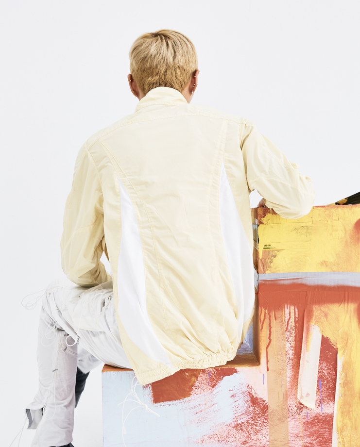 Arnar mar Jonsson Faded Yellow Swoosh Track Top AW18T01 white mens polyester tops side zip pullover AW18 autumn winter showstudio machine a