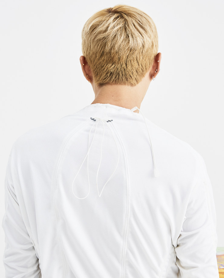 Arnar mar Jonsson White Windy Top AW18T02 white mens cotton tops pullover pulled top strings AW18 autumn winter showstudio machine a