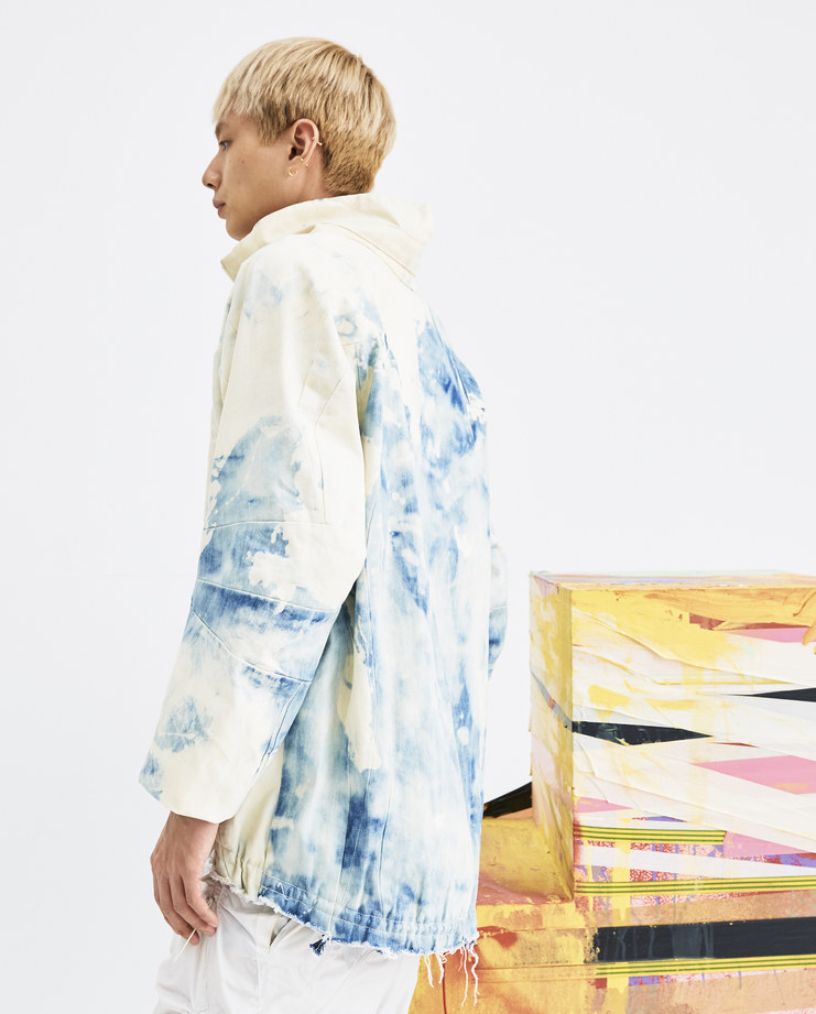 Arnar Mar Jonsson Blue and White Jakill Jacket AW18J05 mens pulled jackets bleached denim dye side zip cotton AW18 autumn winter showstudio machine a