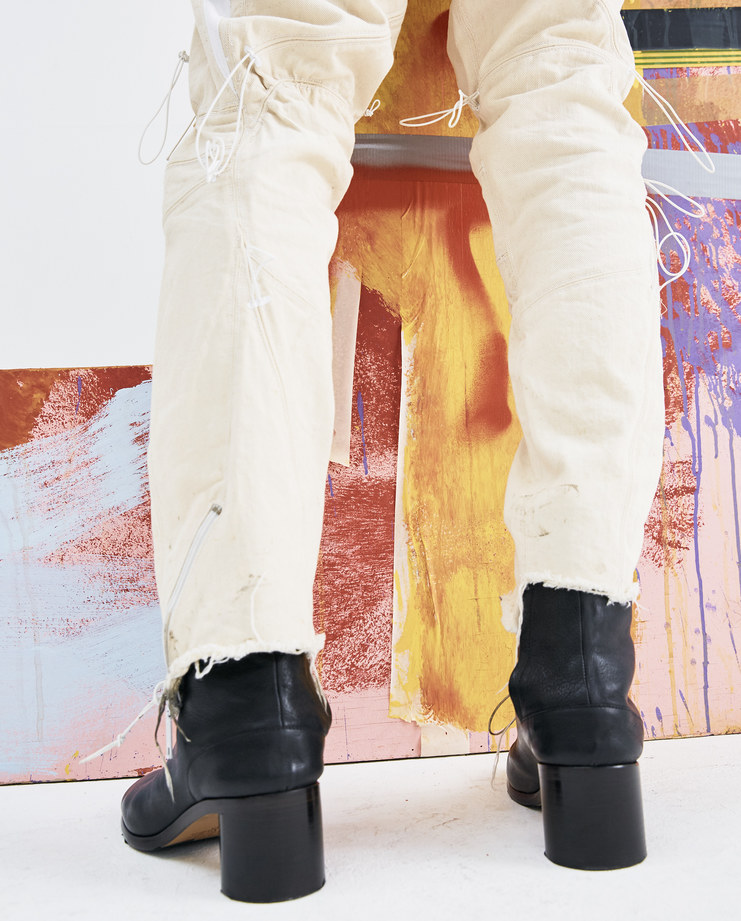 Arnar Mar Jonsson Beige and White Cyperacae Jeans AW18TR04 mens trousers pulled strings AW18 autumn winter showstudio machine a