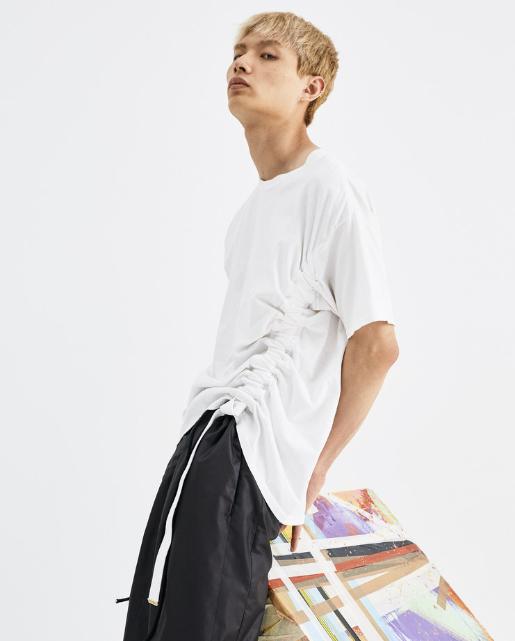 Bianca Saunders White Movement T-Shirt AW007 mens cotton top short sleeves side drawstring AW18 autumn winter showstudio machine a