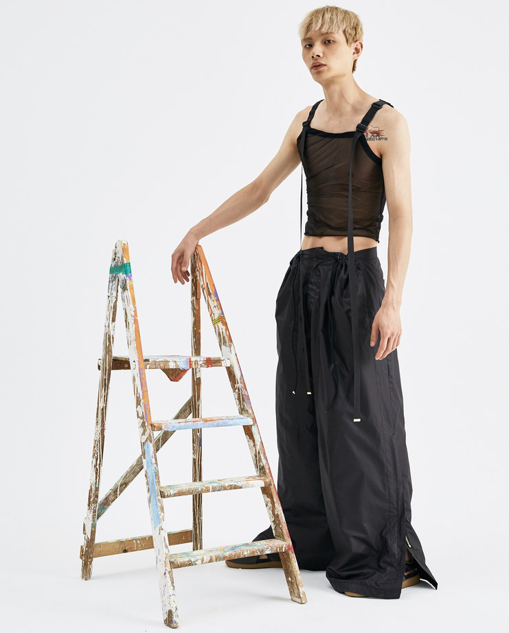 Bianca Saunders Black 2 Zip Track Pant AW010 polyester pants trousers mens zippers AW18 autumn winter showstudio machine a
