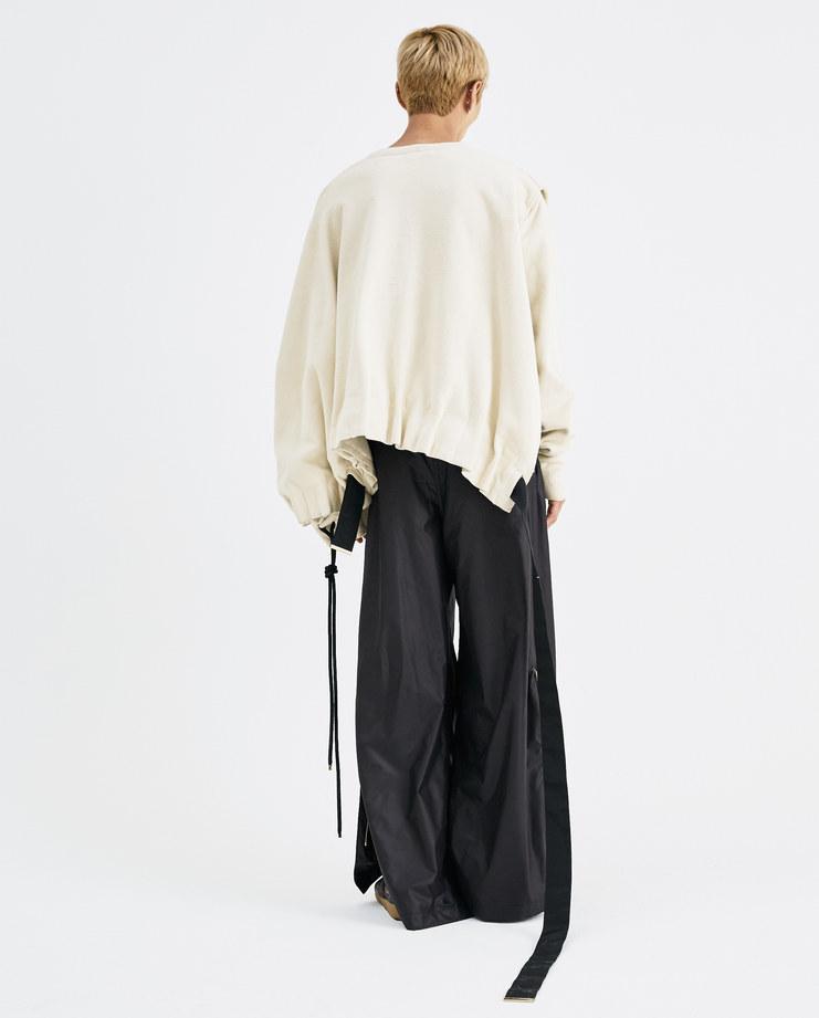 Bianca Saunders Cream Split Jumper AW011 asymmetrical sweater ruffled mens AW18 autumn winter showstudio machine a