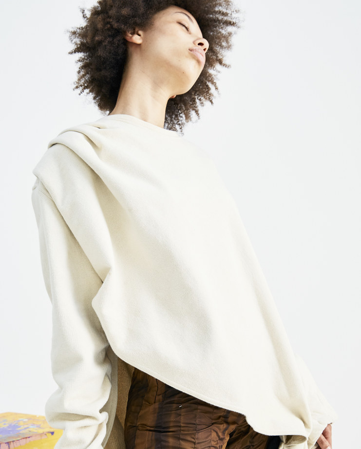 Bianca Saunders Cream Split Jumper AW011 asymmetrical sweater ruffled womens AW18 autumn winter showstudio machine a