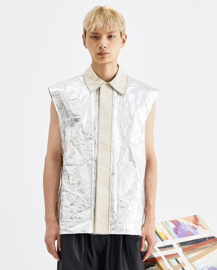 Camilla Damkjaer Silver Foil Waistcoat 1.06 aluminium cotton sleeveless coat vest gilet mens womens unisex AW18 autumn winter showstudio machine a