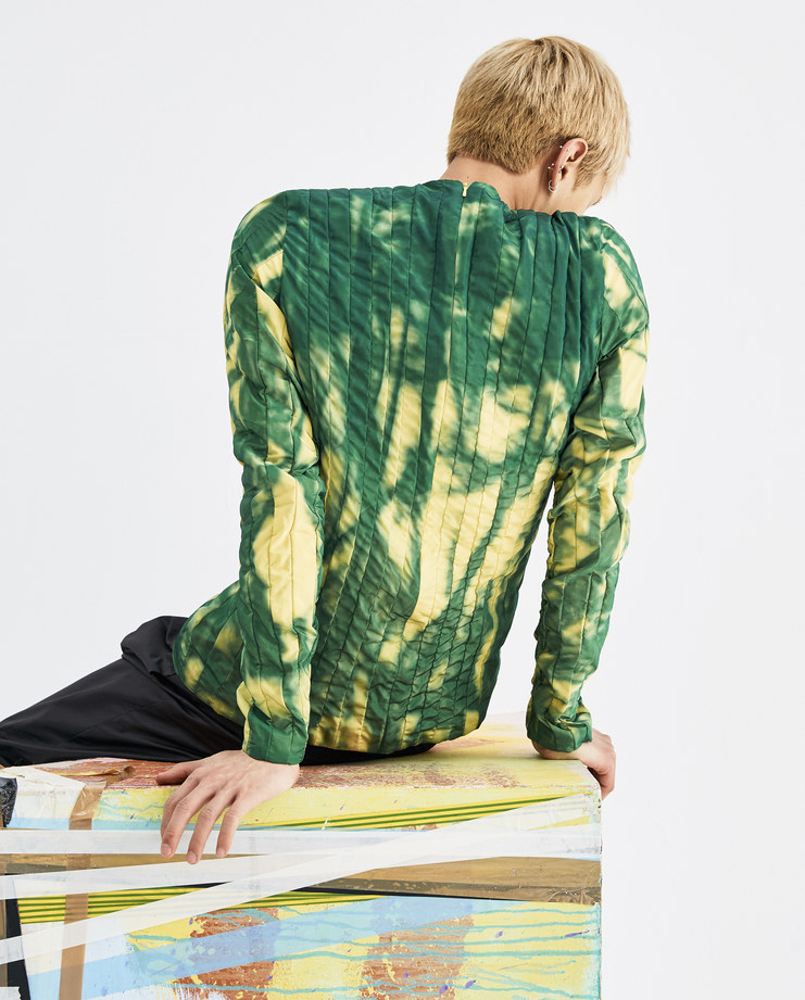 Camilla Damkjaer Yellow and Green Wire Top 1.08 polyester taffeta long sleeves top mens womens AW18 autumn winter showstudio machine a