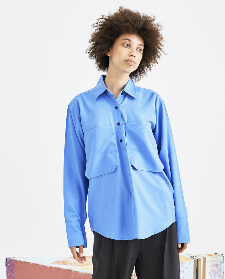 EFTYCHIA Long Sleeve Shirt with Pockets blue pockets polo 1S18 Karamolegkou csm london graduate void machine a button efty chia