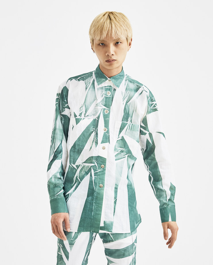 Camilla Damkjaer White and Green Cotton Mix Shirt 1.09 long sleeves buttoned closure collar top mens womens unisex AW18 autumn winter showstudio machine a