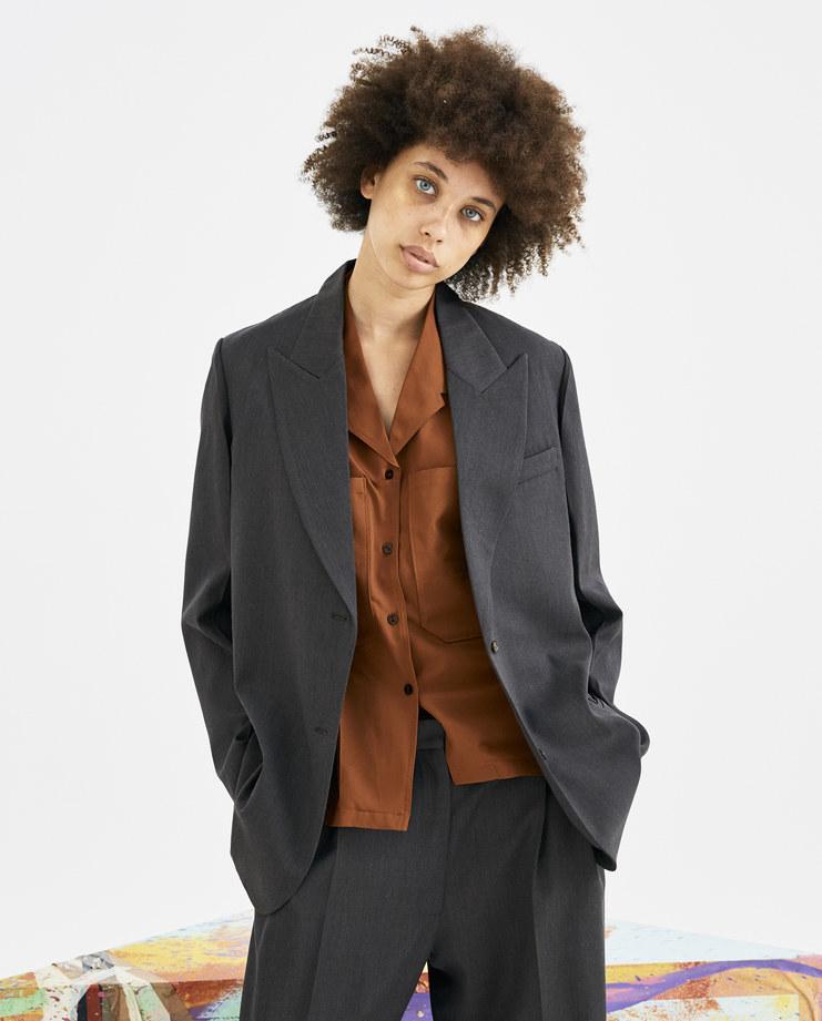 eftychia Single Breasted Tailored Jacket blazer tailor pleat folod pockets collar suit efty chia relaxed drape pleat pants machine a void Karamolegkou 4J18