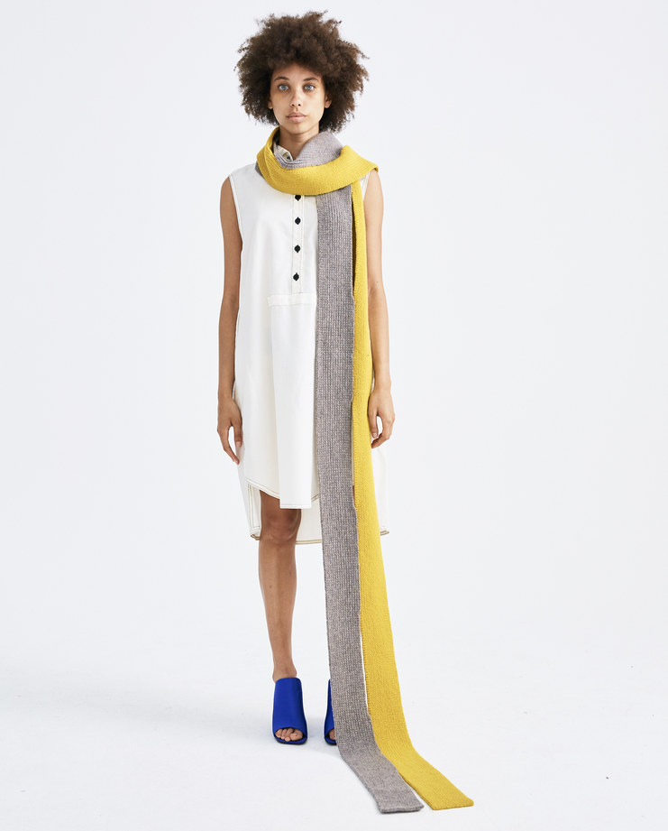 T/SEHNE Yellow and Grey Scarf ACO1 lambswool womens vertical cut half split AW18 autumn winter showstudio machine a