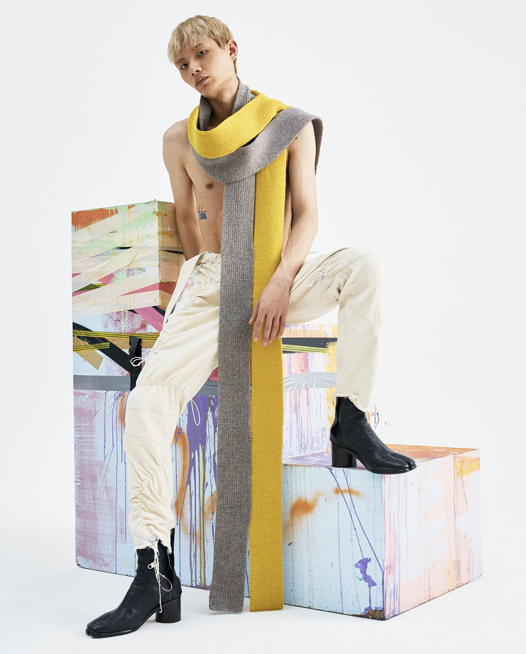 T/SEHNE Yellow and Grey Scarf ACO1 lambswool mens vertical cut half vertical slits AW18 autumn winter showstudio machine a