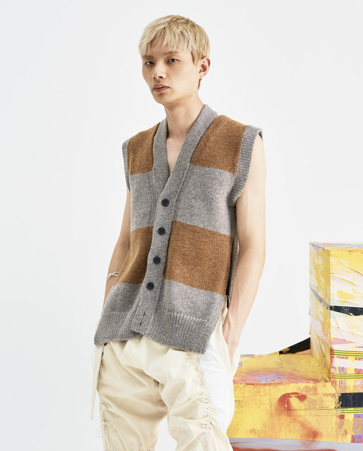 T/SEHNE Yellow and Grey Sleeveless Vest aw18 graduates central saint martins csm rca royal collage of arts machine a void showstudio machine-a tsehne t sehne