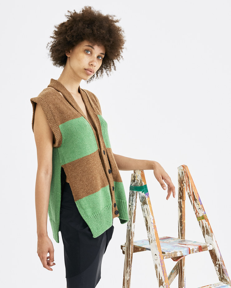 T/SEHNE Green and Brown Sleeveless Vest aw18 graduates central saint martins csm rca royal collage of arts machine a void showstudio machine-a tsehne t sehne
