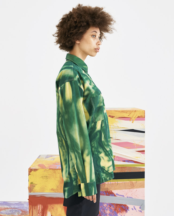 Camilla Damkjaer Yellow and Green Taffeta Shirt 1.1 long sleeves buttoned closure collar top mens womens unisex AW18 autumn winter showstudio machine a