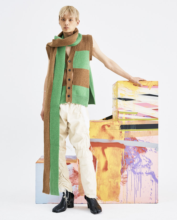 T/SEHNE Green and Brown Scarf ACO1 lambswool womens vertical cut half slits AW18 autumn winter showstudio machine a