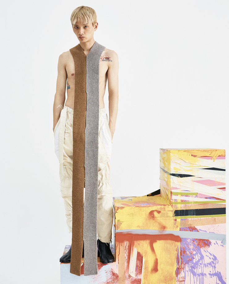 T/SEHNE Grey and Brown Scarf Scarf ACO1 lambswool womens vertical cut half slits AW18 autumn winter showstudio machine a