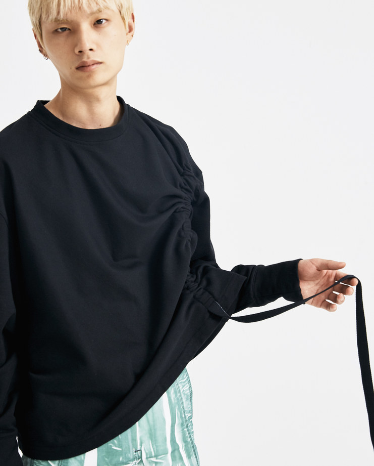 Bianca Saunders Movement jumper sweater cotton drawstring lfw graduate void csm black oversized machine a rca london