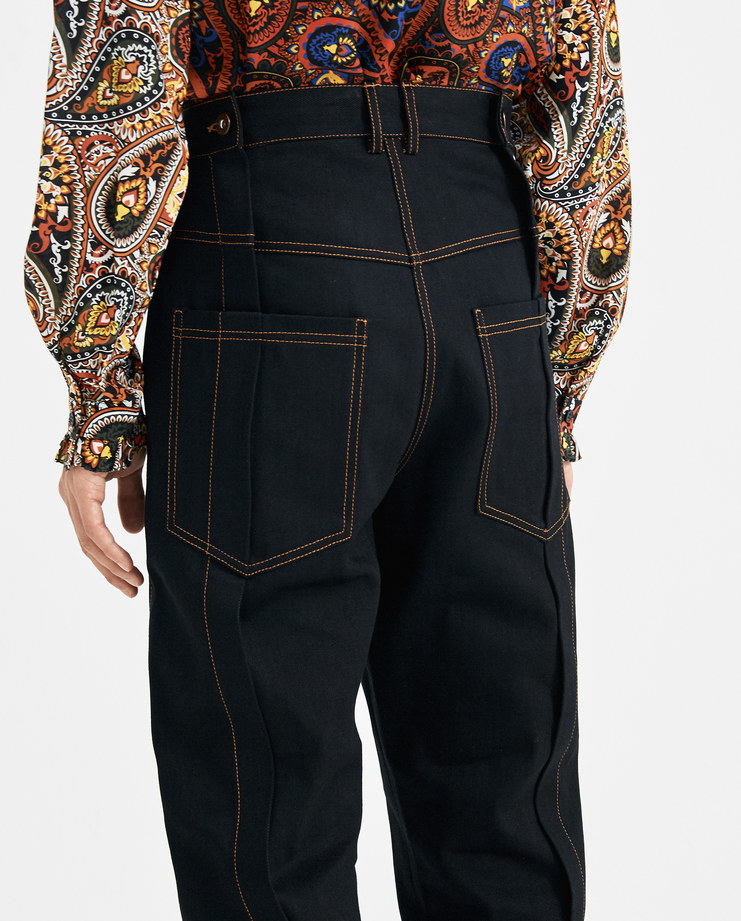 DELADA Black Denim Pleated Trousers with Cuffs DM4TR3 dilada Machine-A SHOWstudio new arrivals AW 18 autumn winter 2018 collection mens trousers pants floral motif pattern
