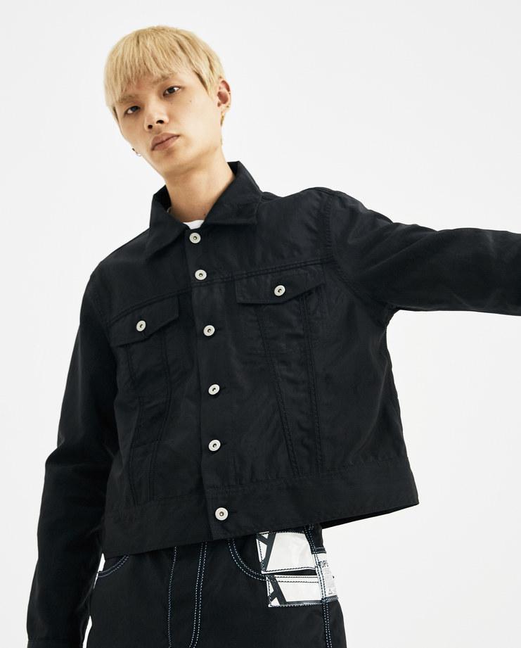 KANGHYUK Black Airbag Jacket RMA18AWJK04 Coat Outerwear jeans buttons aw18 autumn winter 2018 kang korean fashion designer RCA London machine-a showstudio