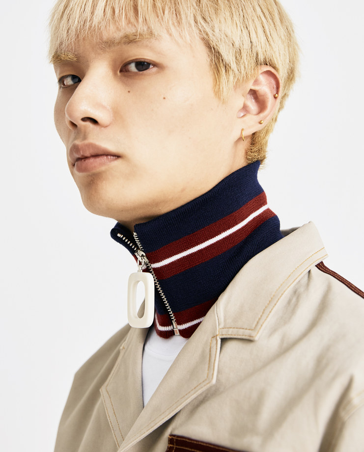 JW Anderson Burgundy Striped Zipped Neckband AC00218F AW 18 A/W 18 collection autumn winter Machine A SHOWstudio accessories neck zip detail