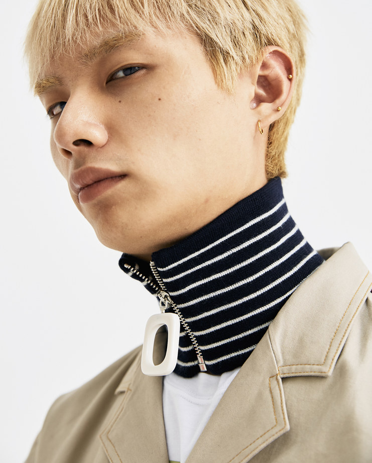 JW Anderson Navy Striped Zipped Neckband  AC00218F AW 18 A/W 18 collection autumn winter Machine A SHOWstudio accessories neck zip detail