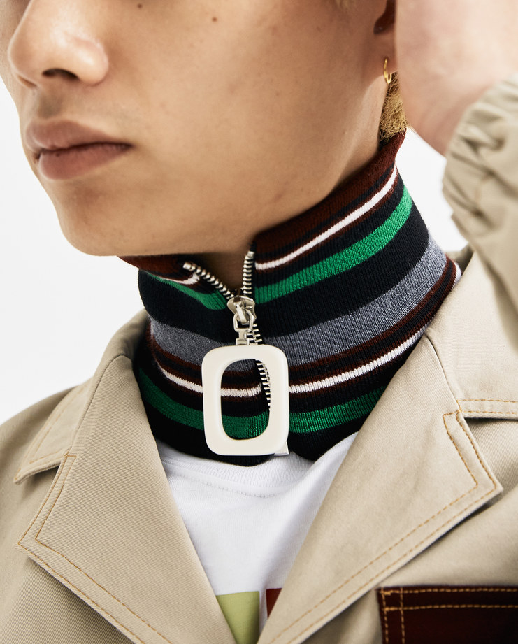 JW Anderson Grey and Green Striped Zipped Neckband AC00218F AW 18 A/W 18 collection autumn winter Machine A SHOWstudio accessories neck zip detail
