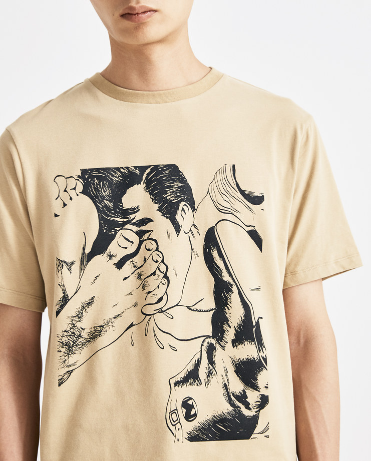 JW Anderson Camel Brown Foot Print T-Shirt new arrivals AW 18 A/W 18 autumn winter collection Machine A SHOWstudio tops mens printed