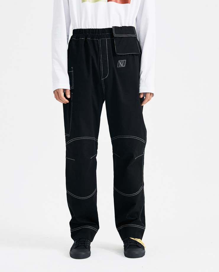 Xander Zhou Black Stitched Trousers AW18P02-4 new collection Machine A SHOWstudio A/W 18 AW 18 autumn winter zander zou mens pants trousers stitching white details