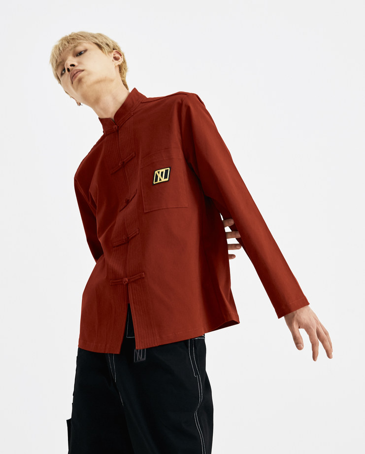 Xander Zhou Red Buttoned Jacket AW18J01-1 AW 18 A/W 18 autumn winter collection Machine A SHOWstudio jackets mens chinese jacket buttons detail