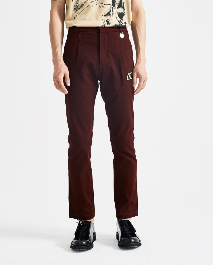 Xander Zhou Burgundy High Waisted Trousers AW18P06-6 new arrivals AW 18 A/W 18 autumn winter collection Machine A SHOWstudio trouser pants red maroon zander zou