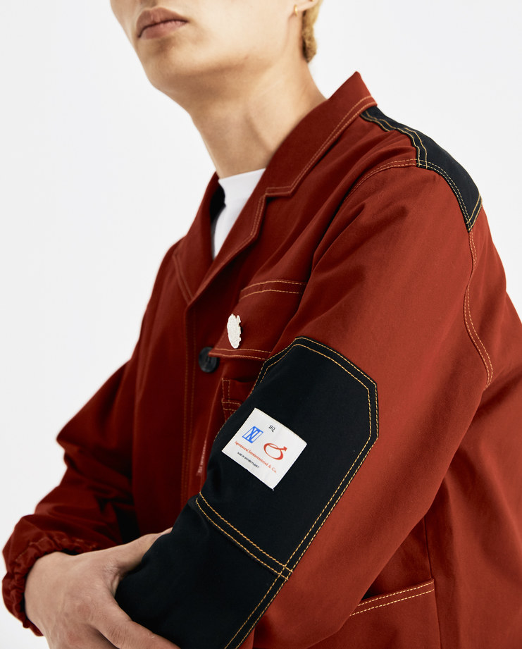 Xander Zhou Red Panelled Jacket AW18J03-2 AW 18 A/W 18 autumn winter collection Machine A SHOWstudio mens jackets buttons detail red black jackets zander zou