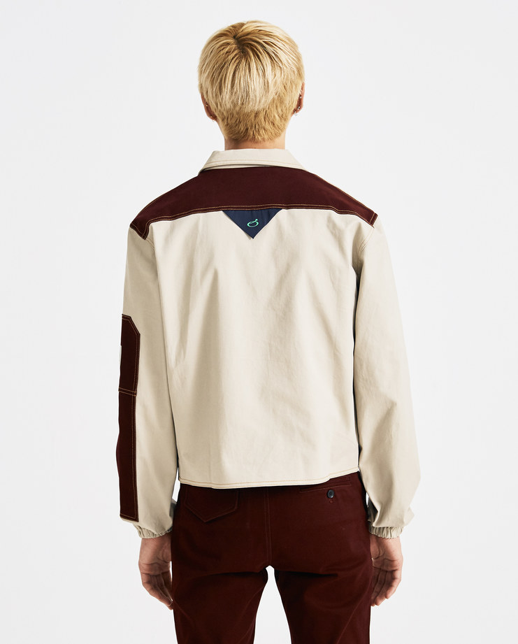 Xander Zhou Beige Panelled Jacket AW18J03-2 AW 18 A/W 18 autumn winter collection Machine A SHOWstudio mens jackets buttons detail red black jackets zander zou