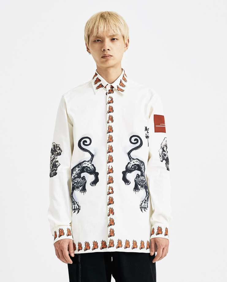 Xander Zhou White Printed Shirt AW18SH09-4 AW 18 A/W 18 autumn winter collection Machine A SHOWstudio zander zou mens shirts printing chinese red