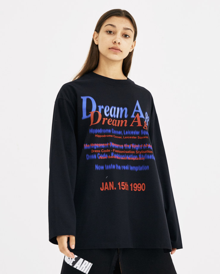 Martine Rose Black Long Sleeve Pull T-Shirt AW18-622 AW 18 A/W 18 autumn winter collection Machine-A Machine A SHOWstudio womens tops tshirt tee