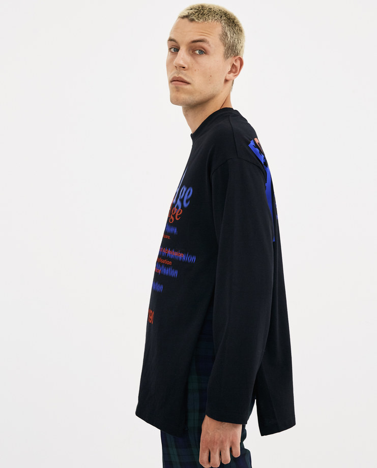 Martine Rose Black Long Sleeve Pull T-Shirt AW18-622 AW 18 A/W 18 autumn winter collection Machine-A Machine A SHOWstudio mens tops tshirt tee