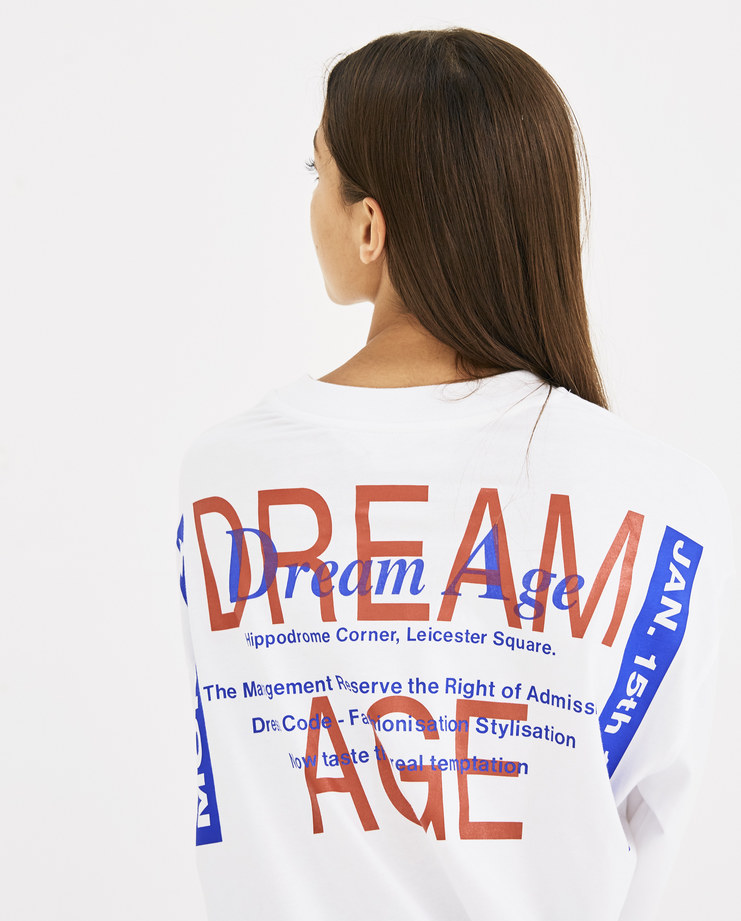 Martine Rose White Long Sleeve Pull T-Shirt AW18-622 AW 18 A/W 18 autumn winter collection Machine-A Machine A SHOWstudio womens tops tshirt tee