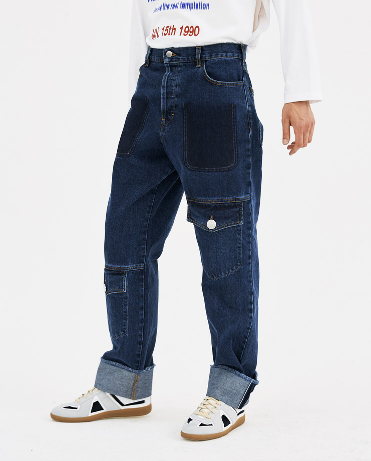 JW Anderson Multi Pocket Denim Trousers TR00418F new arrivals AW 18 collection Machine A machine-a SHOWstudio jeans utility pockets mens indigo blue pants
