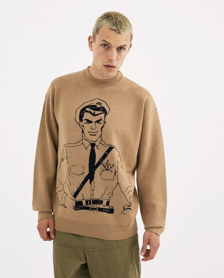 JW Anderson Policeman Sketch Crew Neck Jumper KW03718F new arrivals menswear Machine A machine-a SHOWstudio biscuit top knitted jumpers illustration police