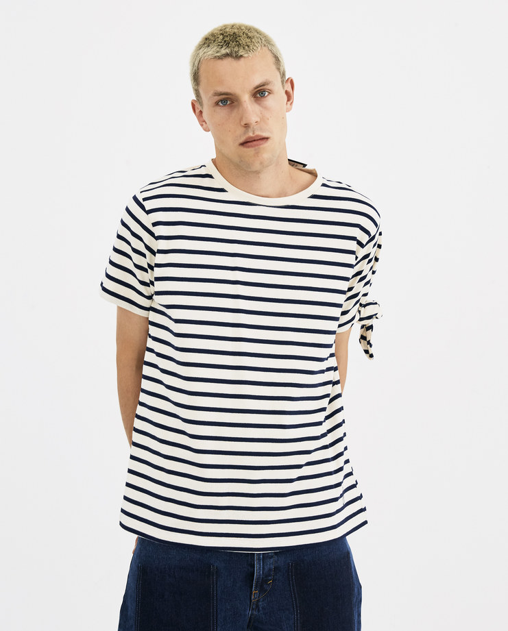 JW Anderson Multi Striped Single Knot T-Shirt JE02518F new arrivals A/W 18 collection Machine A machine-a SHOWstudio mens tee striped cotton jersey knotted off white blue